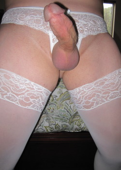 lookwhatsinmypanties:  Nice and hard in white lace! Thanks for