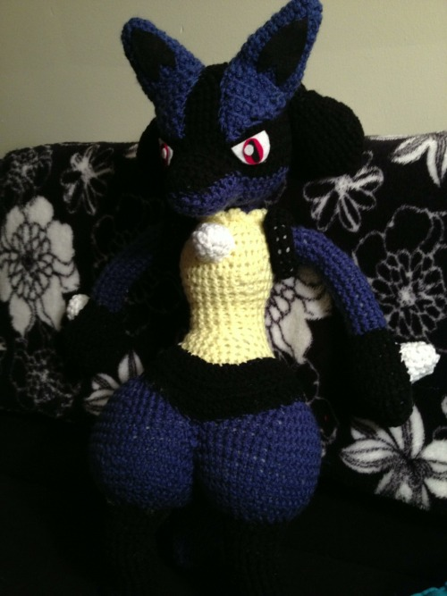 Lucario~.  I'll take some more pics in the morning, because his little legs are blending in with my couch :)