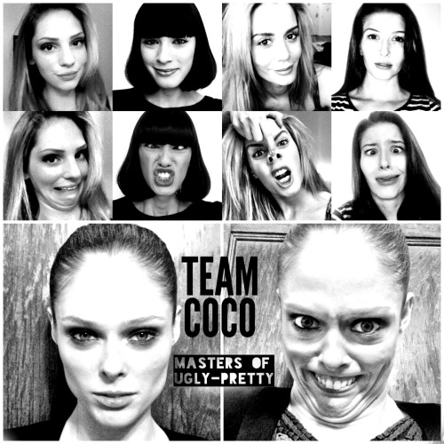 Coco Rocha and her team of models from The Face take the ugly face challenge — and crush it. by Anna North From left: Stephanie LaLanne, Margaux Brooke, Brittany Mason, and Marlee Nichols, all contestants on supermodel Coco Rocha's team on Oxygen's The Face, rise to BuzzFeed's ugly face challenge. And at the bottom, achieving sublime ugliness, Coco herself.