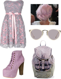 ^^ por shilky con forever 21 backpacksLace dress / Jeffrey Campbell  bootie, $230 / Forever 21  backpack / Raen Optics