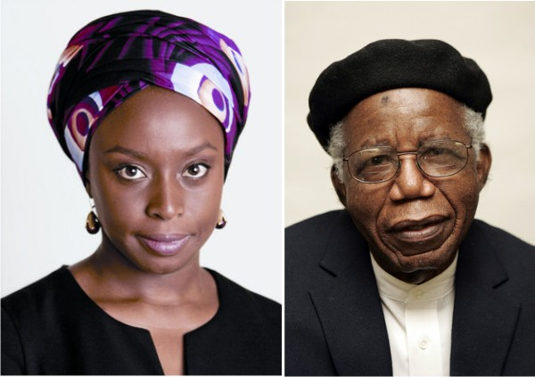 "howiviewafrica:  Chimamanda Adichie pays tribute to Chinua Achebe at 82. ""I grew up writing imitative stories. Of characters eating food I had never seen and having conversations I had never heard. They might have been good or bad, those stories, but they were emotionally false, they were not mine. Then came a glorious awakening: Chinua Achebe's fiction. Here were familiar characters who felt true; here was language that captured my two worlds; here was a writer writing not what he felt he should write but what he wanted to write. His work was free of anxiety, wore its own skin effortlessly. It emboldened me, not to find my voice, but to speak in the voice I already had. And so, when that e-mail came from his son, I knew, overly-thrilled as I was, that I would not call. His work had done more than enough. In an odd way, I was so awed, so grateful, that I did not want to meet him. I wanted some distance between my literary hero and me."" -Chimamanda Adichie MUST READ: http://thenetng.com/2012/11/chimamanda-adichie-pays-tribute-to-chinua-achebe-at-82/  brilliance. rip."