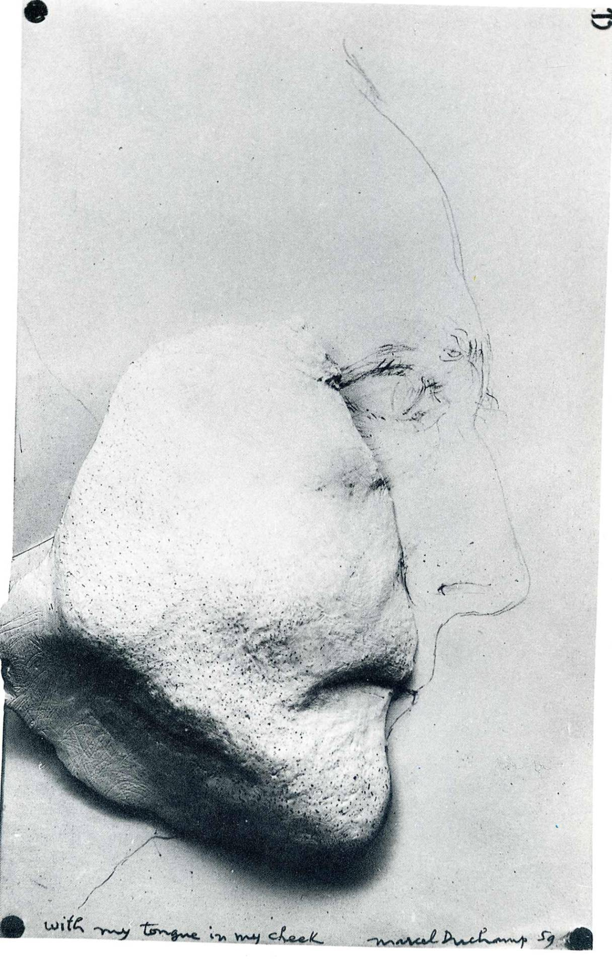 free-parking:  Marcel Duchamp, With My Tongue in My Cheek, 1959