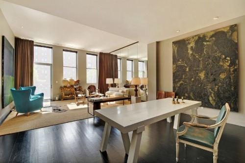 Newly renovated Chelsea NYC Loft with darkwood flooring, recessed lighting, and a full length terrace. Big Smiles!!!!!!