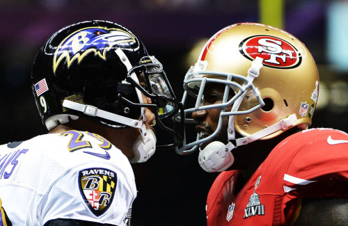 SUPER BOWL RECORDS SET IN SUPER BOWL XLVII Most Combined Yards, Game 290, Jacoby Jones, BAL Longest Play 108-yard kickoff return, Jacoby Jones, BAL Longest Kickoff Return 108 yards, Jacoby Jones, BAL Longest Kickoff Return for Touchdown 108 yards, Jacoby Jones, BAL Longest Touchdown Run, Quarterback 15 yards, Colin Kaepernick, SF Most Kickoff-Return Yards, Both Teams 312 (Baltimore 206, San Francisco 106) Longest Time Of Game 4:14 SUPER BOWL RECORDS TIED IN SUPER BOWL XLVII Most Touchdowns, Plays of 50-or-More Yards, Game 2, Jacoby Jones, BAL Most Receiving Yards, Game, Tight End 104, Vernon Davis, SF Most Touchdowns, Kickoff Returns, Game 1, Jacoby Jones, SF Most Safeties, Game 1, Chris Culliver, SF Most Touchdowns, Kickoff Returns, Game, Team 1, Baltimore Most Safeties, Game, Team 1, San Francisco Most Players, 100-or-More Receiving Yards, Game, Team 2, San Francisco (Michael Crabtree 109, Vernon Davis 104) Most Points, Third Quarter, Both Teams 24 (San Francisco 17, Baltimore 7) Most Field Goals, Game, Both Teams 5 (San Francisco 3, Baltimore 2) Most Field Goals Without Miss, Game, Both Teams 5 (San Francisco 3, Baltimore 2) Fewest Rushing Touchdowns, Game, Team 0, Baltimore  /via Fox Sports