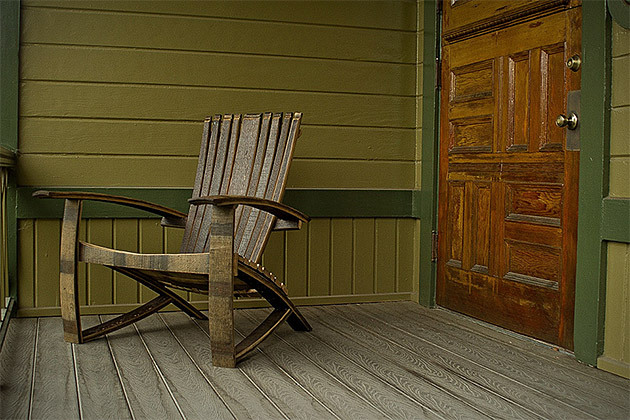 Whisky Barrel Adirondack Chair