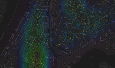 "kenyatta:  Mapping Data-Dense Cities as if They Were Mountains  This gave Herwig another idea for how to visualize data points that essentially pile up on a given place. ""Why don't I treat them like elevation?"" he says. Dense information has a topology in the same way that physical terrain does.  sunlightcities:  Making more sense of dense data visualizations.  -Source: Atlantic Cities   Deleuze and Guattari would be proud.  Gorgeous."