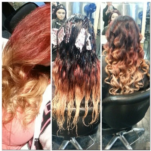 ombre color correction red to blonde ombre hair style