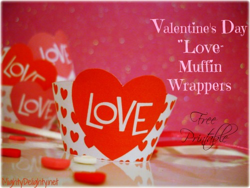 """Love"" muffins for #ValentinesDay……free printable  Read More….."