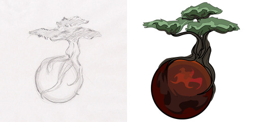 © 2013 Megan Yiu. Commissioned tattoo design. A bonsai tree growing from the right side, with its roots enveloping some kind of planet.