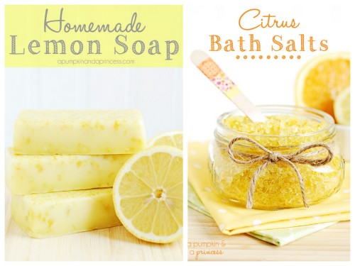 DIY 3 Ingredient Lemon Soap and Citrus Bath Salts from a Pumpkin & a Princess. Top Photo: 3 Ingredient Lemon Soap Recipe here. Bottom Photo: Easy Citrus Bath Salts.