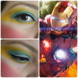 Make up inspirado en Iron Man ❤💛💙 (El azúl se ve verde no sé por qué)
