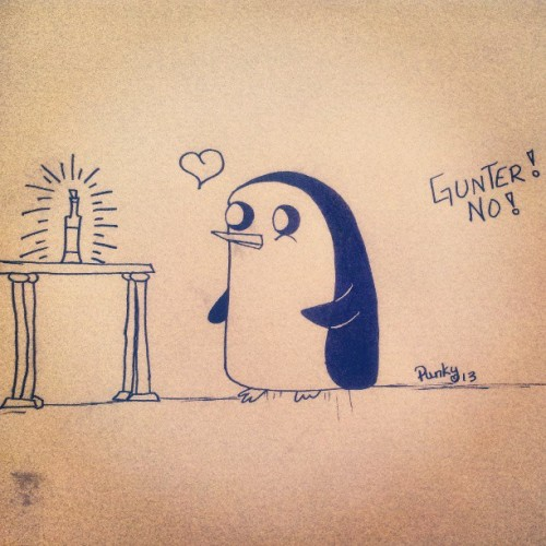 quick doodle of Gunter from adventure time. She's my favorite <3 <3 #adventuretime #doodle #cartoon #penguin #bottle #love #drawing #art #lol