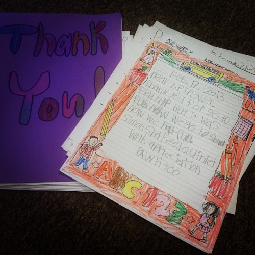 ArtPower! received the cutest 'thank you' notes for the Simon Shaheen Student Matinee!  (at UCSD Student Center)