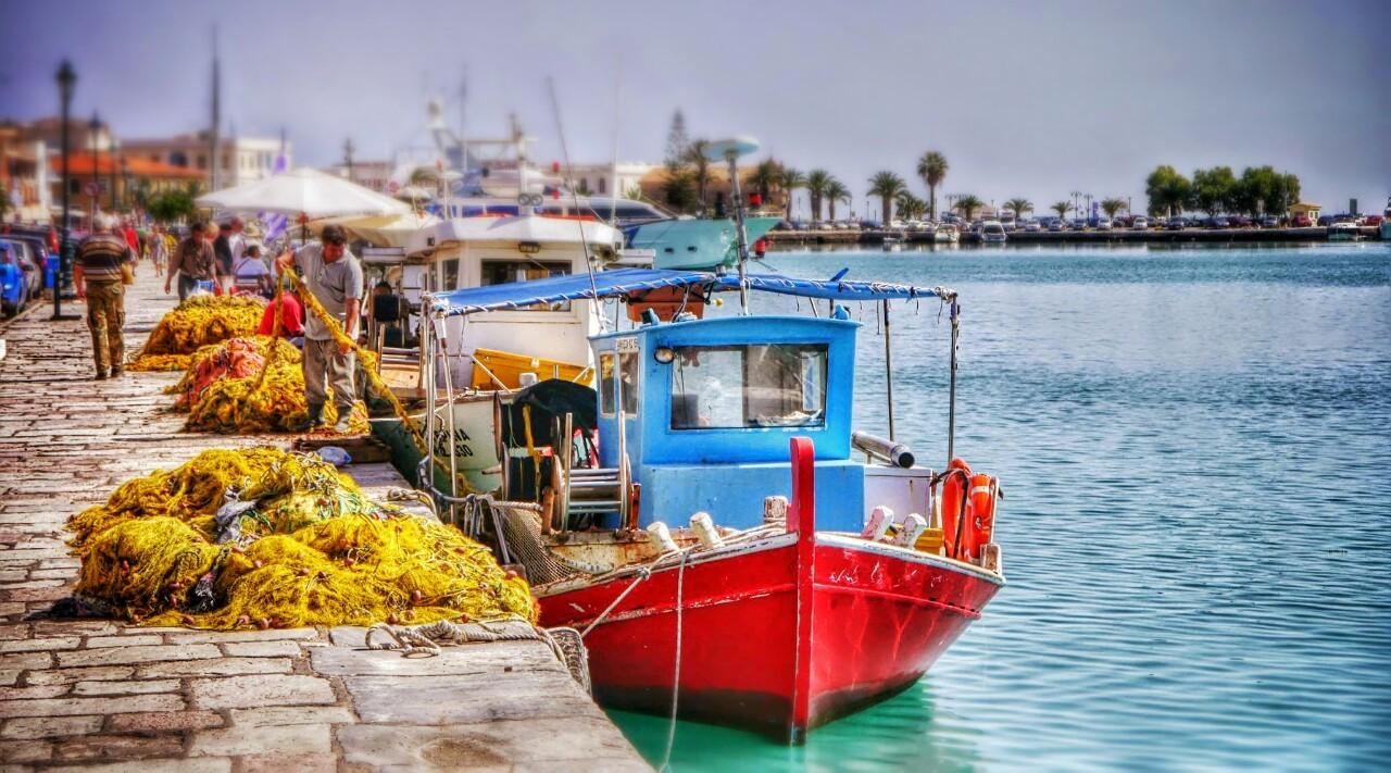 Fishing Boats in Zakynthos Harbour.
