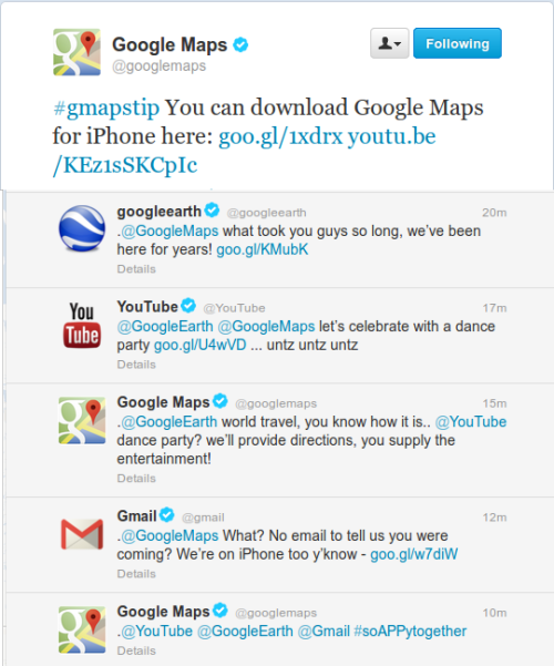 Looks like a Twitter party to celebrate Google Maps on iOS. Great marketing to get in front of potentially different audiences.