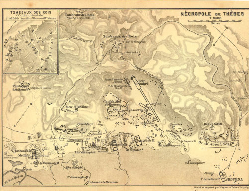Necropolis of Thebes Vintage Map, Egypt  Archeological Site 1914 Tomb of the Kings at CarambasVintage http://etsy.me/VyaBkz