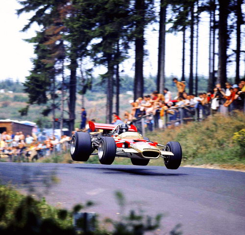fuckyeah-grandprix:  Graham Hill, Lotus-Ford, Nürburgring, German Grand Prix 1969.