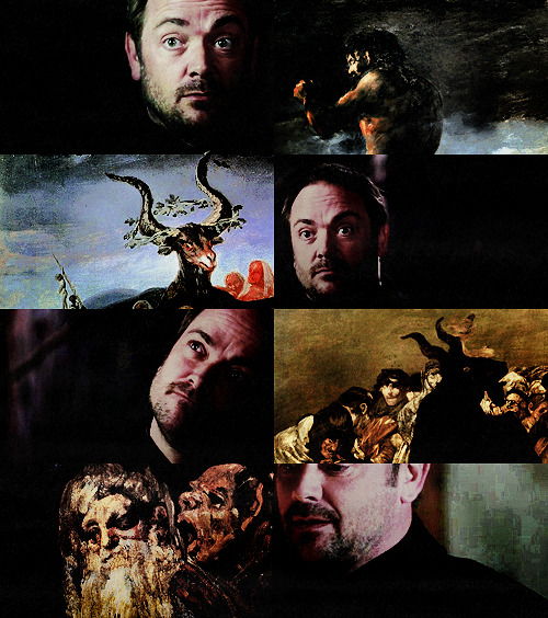 samiferist:  Supernatural + Art↳ Crowley + Francisco Goya  Left my home and left my love Caught on a rusty nail Devil rose up heavy with gold My soul's not for sale  Then a holy man in a house of God He offered me a book of prayer But when I left my home and I left my love Left my faith back there  Rattlin' Bones - Kasey Chambers & Shane Nicholson