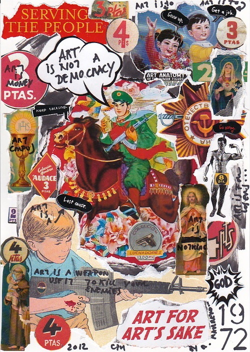 Art Is Not A Democracy.( Collage, acyilic and markers on paper) More Artworks in: WWW.IAMGOD.EU http://www.facebook.com/Roberta.Marrero.Art