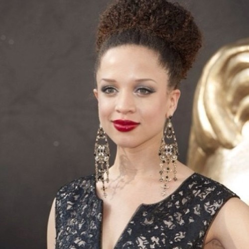 Natalie Gumede looks great with her #NaturalCurls in a formal bun. @CurlKit #curlycelebrities