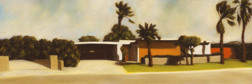 midcenturymodernfreak:  Modern Suburbia Architecture | Artist: Rick Monzon | Oil on Panel | Ojai, CA Via