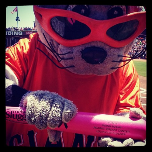 Lou Seal shows off the pink bat used in today's game #SFGiants #attpark