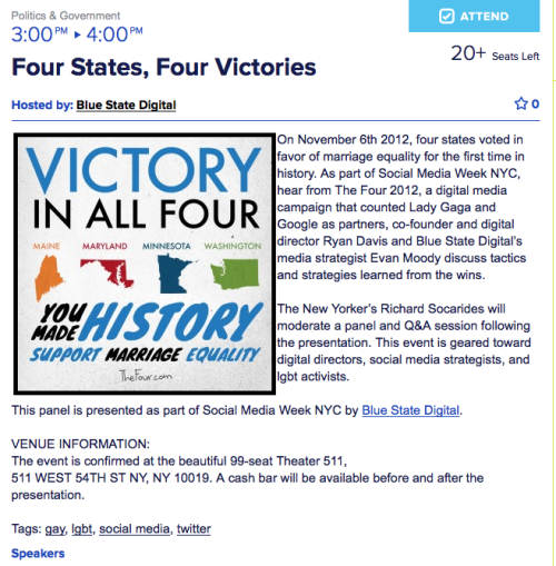 Really excited to be presenting on The Four 2012 for Blue State Digital with Evan Moody & Richard Socarides at Social Media Week NYC!  RSVP now: http://bit.ly/Wx0tp7