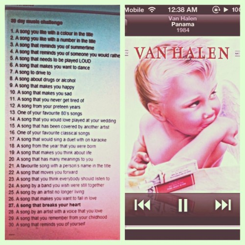 30 day music challenge (day  7) - a song to drive to: panama by van halen. #30daymusicchallenge #dayseven #panama #vanhalen #music #latenightmusic #scrapbook