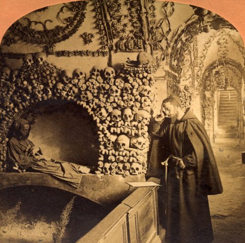 Monk praying in the Catacombs, Rome. 1897 B.W. Kilburn the one part of the double photo for seeing in 3D with proper 19th cent. view master glasses