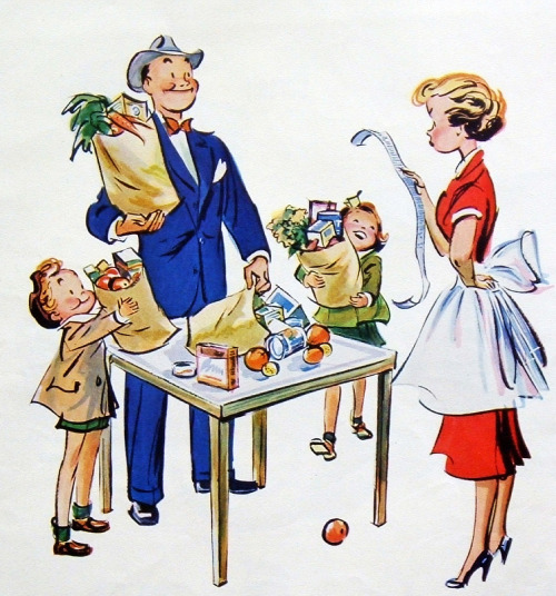 Husband can't be trusted with food budget… detail from 1952 Jell-O ad.