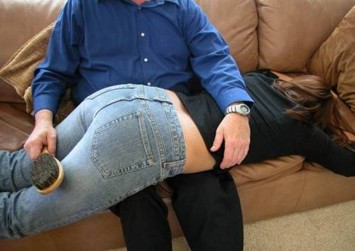 fuckyeahspanking:  Sometimes you don't have time to bare her bottom and you just have to take the brush to the seat of her pants. It won't protect her from the bruises you're about to leave, and she WILL cry.  Ooh hot.