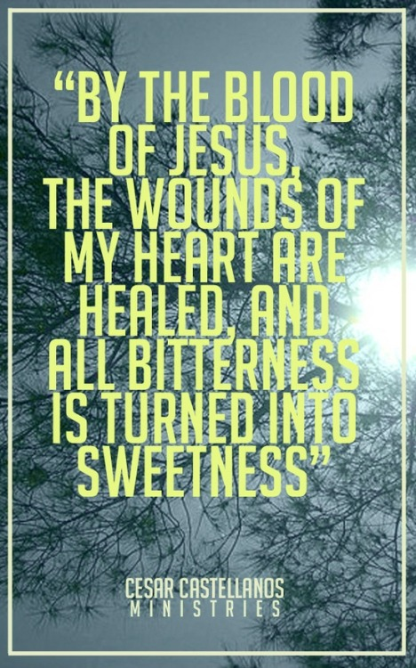 """By the blood of Jesus, the wounds of my heart are healed, and all bitterness is turned into sweetness."" ~ CCD"