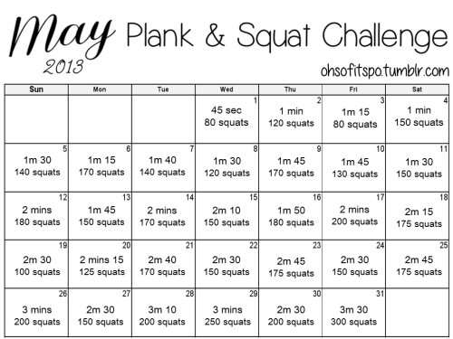 ohsofitspo:  May 2013 Squat & Plank challenge!! Feel free to print out and stick it anywhere for motivation! Don't forget to drink plenty of water and eat clean and you should see awesome results by the end of the month. GOOD LUCK :) If you complete this then this month you have: squatted 5,000 times! planked for over an hour! (64.30) note 1: if you find the squats too difficult then try splitting them up into reps of about 50 at a time and spread them throughout your day.  note 2: please ensure you are squatting and planking correctly to avoid any injuries.    Started this. We'll see how it goes.