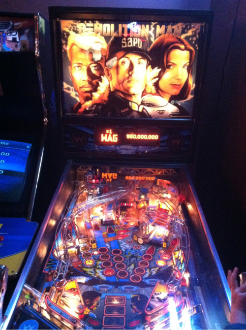 Sweet Demolition Man pinball machine at this pizza place.