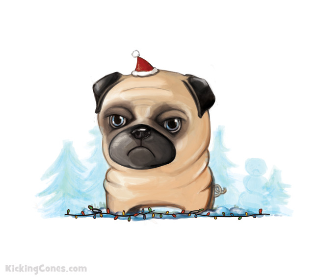 Grumpy cat's arch-nemesis, Grumpy pug, wishes you all a [sort of] happy holidays.
