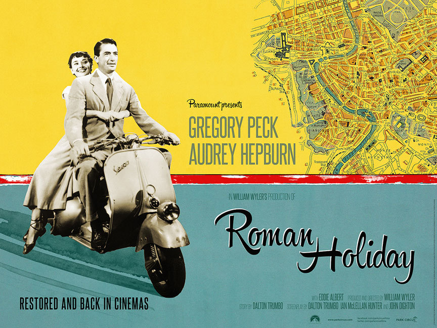 movieposteroftheday:  2013 UK re-release quad for ROMAN HOLIDAY (William Wyler, USA, 1953) Designer: Jen Davies Poster source: Park Circus  Oh Audrey