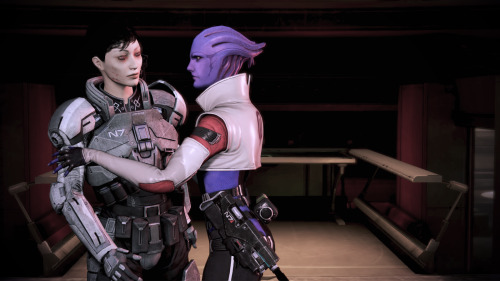 huehuehuehue my hard-ass renegade shep was such a jerk in this dlc to get this silly kiss i pressed the renegade interrupt on the engine part like immediately it was kind of hilarious and horrifying how blasé shep was. oleg was going on about lives and she was just like lol nope can't risk it *boop* thousands are now dead i guess?  i feel like such a monster now