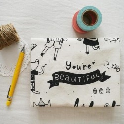 You're Beautiful tote bag in my Etsy now :) www.etsy.com/shop/minifanfan  #etsy #tote #bag #beautiful #animals #cat #dog #bear #panda #frog #bird #butterfly #pig #rabbit #music