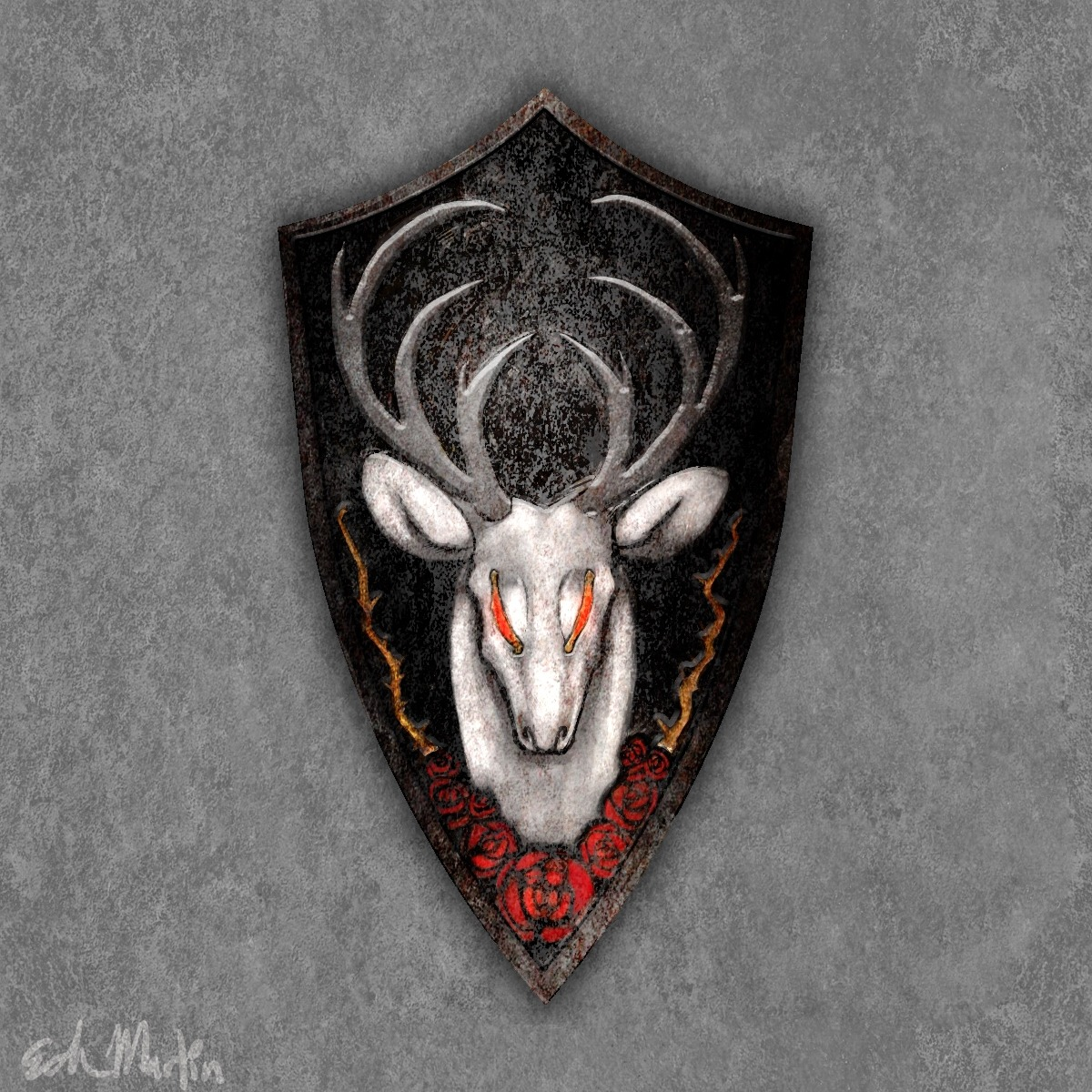 autumn-knight:  The Mantle of the White Stag is a Royal Knight's shield. Its last known carrier was The White Lady of Berenike. It bears the image of The White Stag, a legendary beast said to grant a wish to whoever could defeat it. An Ancient Knight of Berenike fought the Stag, though his shield was destroyed by the battle.  The knight muttered under his breath, unthinkingly wishing that he had a stronger shield. The Stag then vanished, only leaving behind this shield.   Like my shield? Vote for it Here! https://apps.facebook.com/darksoulsii/?gallery&action=view&id=3503
