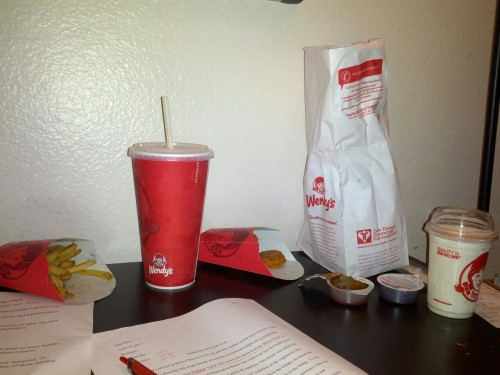 Dinner while I grade. Thanks Mariela