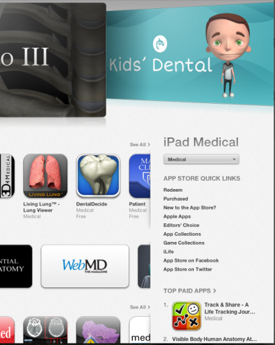 Nice surprise. I woke up to find Track & Share is the #1 Top Paid Medical iPad app in the US Store. Time to celebrate!