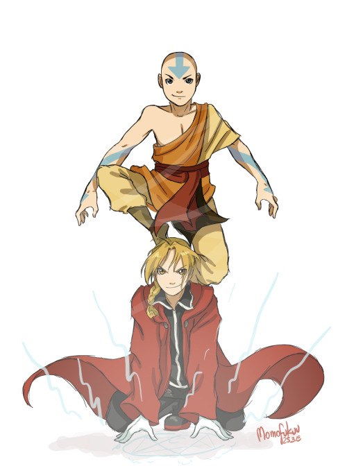 cepelia:  Quick sketch of Aang (Avatar: The Last Airbender) and Edward Elric (Fullmetal Alchemist)Btw, maybe you have any reques for sketches with another characters?