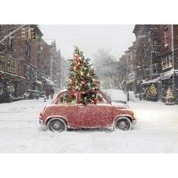 Christmas snow winter holiday Blizzard Evergreen VW Beetle
