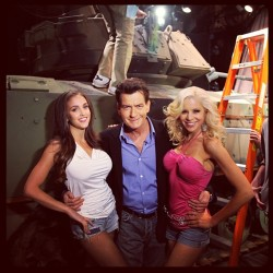 On yesterday's show @charliesheen and his beauties entered on a tank. #conan #charliesheen  (at Warner Bros Stage 15)