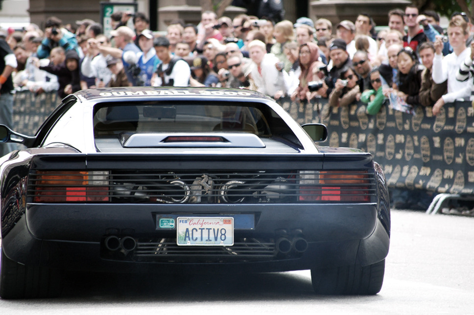 jvnciprivno:  Twin Turbo Ferrari @ Gumball 3000 San Francisco launch, 2008.   Although the testarossa may not make as much BHP or Ft-lb compared to today's cars, the addition of twin turbos still doesn't correct the front end lift after 120mph. Plus with no power assist steering, low speed driving is comparable to a tank. To me it is a waste of money on a perfectly good car!