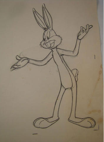 classicanimationart:  Original pencil drawing. Bugs Bunny in Storyland (Capitol Records, 1949).