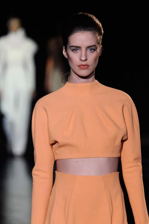 wgsn:  Adore this cute peach sorbet crop-top from #Mugler @Thierry_Mugler #PFW