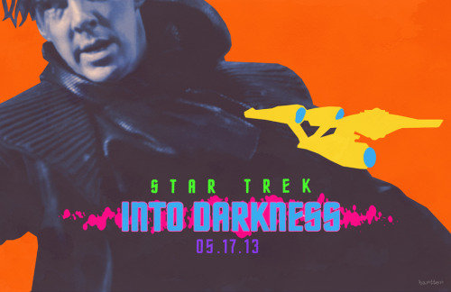 "fuckyeahmovieposters:  Star Trek Into Darkness by Sean Hartter  Cannot wait. Also, interesting retro-psychadelic poster.   And: I wonder if the opening of this film is bolstered by J.J. Abrams' recently revealed involvement with Star Wars. Obviously, this Star Trek would have been huge regardless, but I wonder if there is some ""let's get a glimpse of the potential style of the next Star Wars"" spillover."