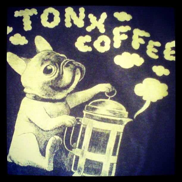Tonx Coffee sent me a free t-shirt OF A DOG THAT LOVES FRENCH PRESS