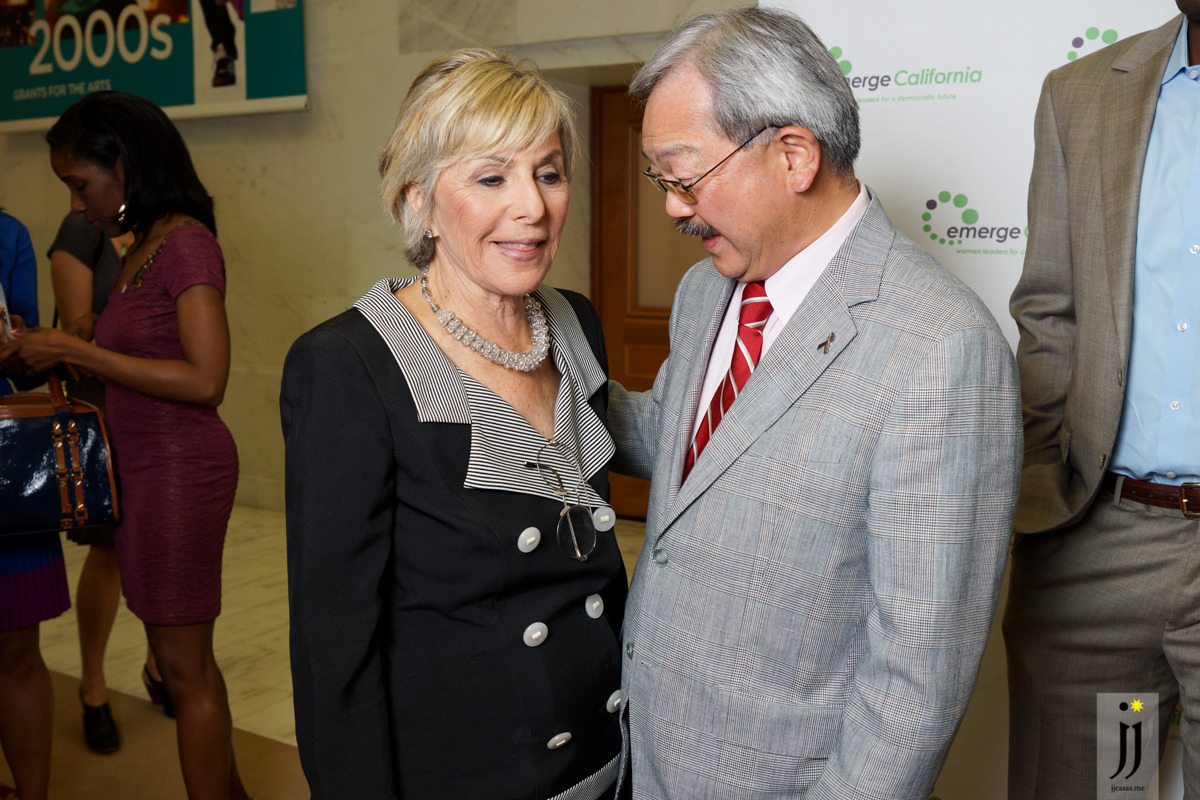 Senator Barbara Boxer greeted by SF Mayor Ed Lee. Taken at Emerge California event in SF City Hall on May 2, 2013.